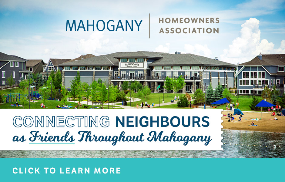 Image: Mahogany Beach Club and Beach. Text: Mahogany Homeowners Association. Click to learn more.